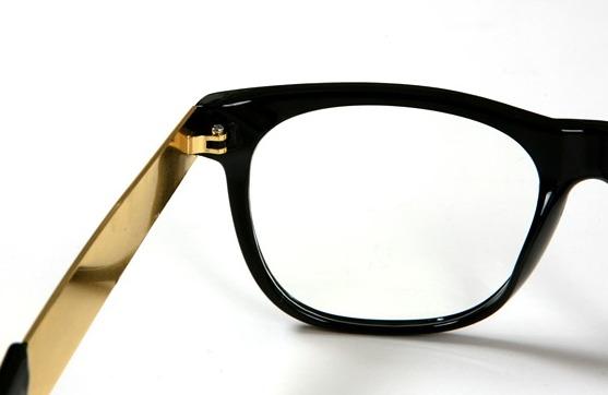Black Frame Glasses With Gold : NEW Black Gold Metal Frame Classic Wayfarer EYE Glasses ...
