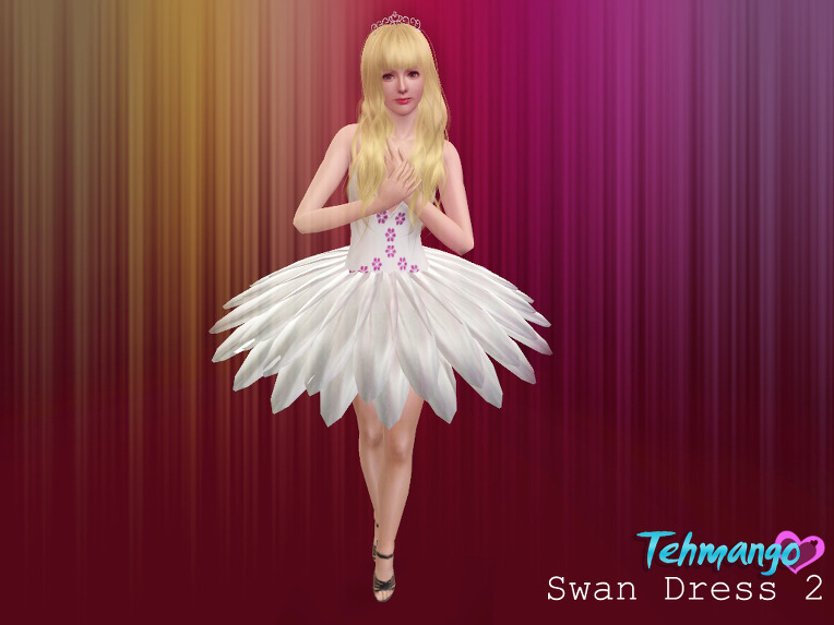 Empire Sims 3: [Dress + Accessory ] Swan Dress and Ballet Crown