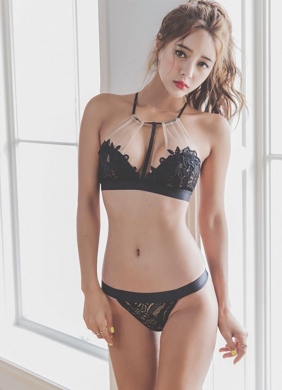hot Asian girl wearing black lingerie