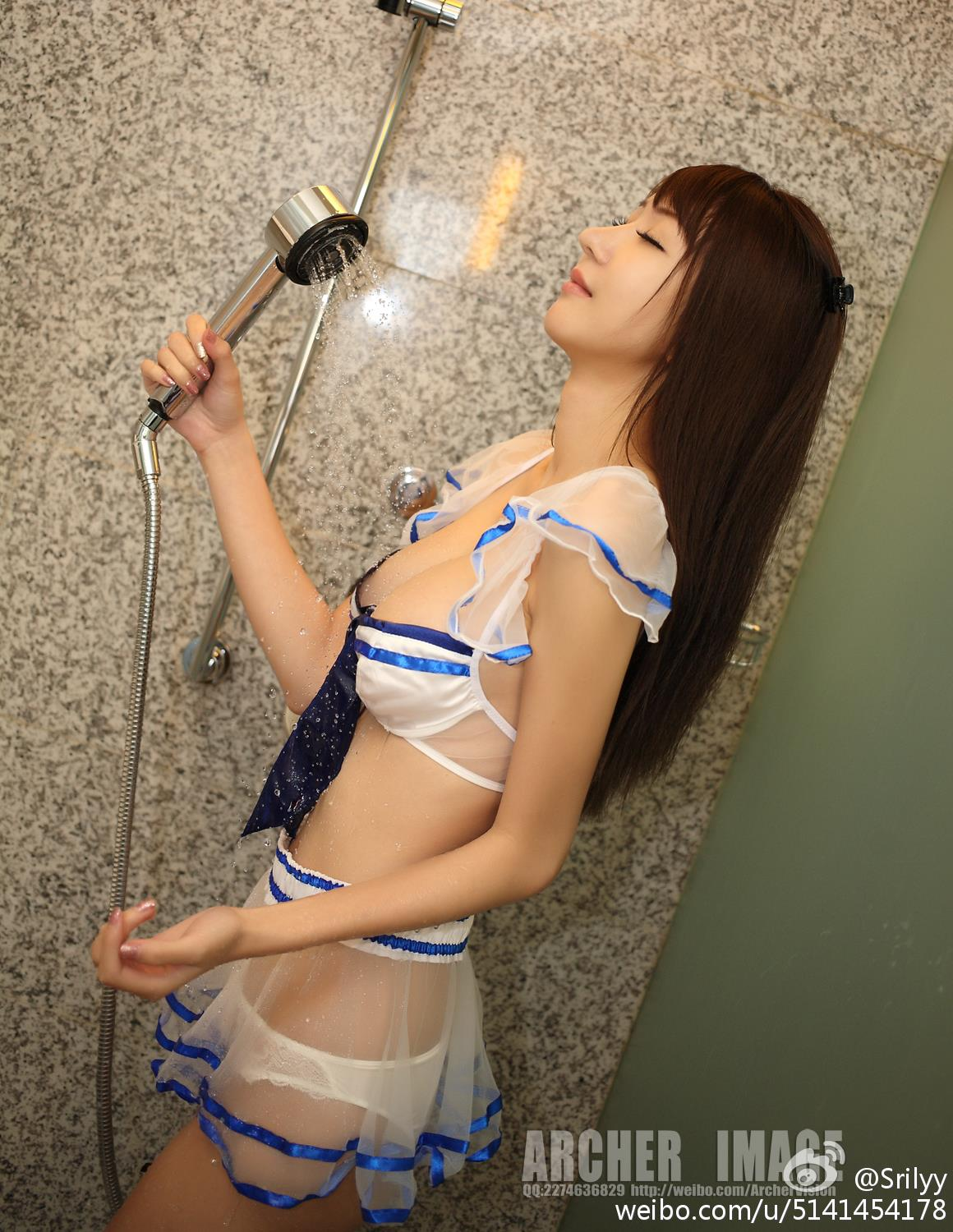 hot Chines woman in shower room